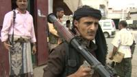 Tribal armed men loyal to President Abdrabbuh Mansour Hadi in Aden