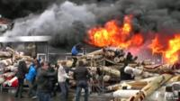 A fire at shopping centre in Russian city of Kazan