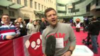 BBC presenter Dermot O'Leary being interviewed during his Comic Relief dance-a-thon