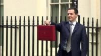The Chancellor, George Osborne with the iconic red briefcase