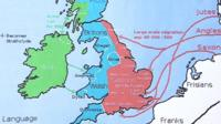 An old map showing the division of Irish, Welsh, Britons and Saxons