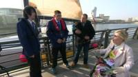 Daniel, Callum, Rory the dog and deputy headteacher Greg Chiswell from the Observatory School in Bidston, Merseyside with the BBC's Disability Correspondent Nikki Fox.