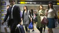 People at Shibuya train station