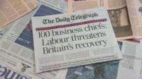 The front page of the Daily Telegraph bearing the headline '100 business chiefs: Labour threatens Britain's recovery'