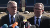 Thomas Winkelmann, chief executive, Germanwings (left) and Carsten Spohr, chief executive, Lufthansa (right)