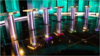 Lecterns are prepared for the leaders debate at the ITV studios