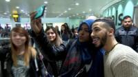 Adam Saleh with fans