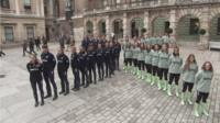 The Oxford and Cambridge boat race teams