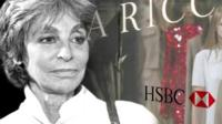 Graphic montage of Arlette Ricci and HSBC logo