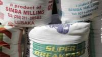 Bags of mealie meal, a coarse flour derived from maize