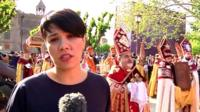BBC reporter Rayhan Demytrie reporting on canonisation ceremoy at Armenian Cathedral at Etchmiadzin, near Yerevan in Armenia