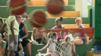 Basketballs and net