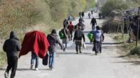 Migrants in a camp near Calais
