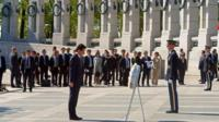 Shinzo Abe at the National World War II Memorial in Washington