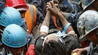 Close up of Pemba Tamang on a stretcher after being rescued five days after Nepal earthquake