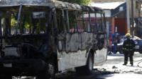 Bus set on fire in Guadalajara, Mexico