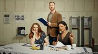 "Catherine Tate, Mark Gatiss and Nina Sosanya in Donmar Warehouse image for production of ""The Vote"""