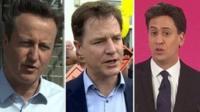 David Cameron, Nick Clegg, Ed Miliband