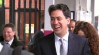 Ed Miliband arriving in Bedford an election campaign event
