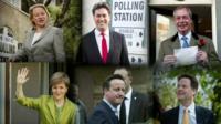 Party leaders voting: Top row Natalie Bennett, Ed Miliband, Nigel Farage, Bottom row: Nicola Sturgeon, David Cameron, Nick Clegg