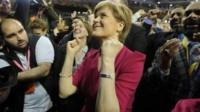 SNP Leader Nicola Sturgeon celebrates victory at the Glasgow count