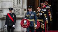 Armed forces lay wreaths at the Cenotaph