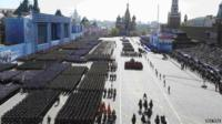 Russian soldiers march during the Victory Day parade at Red Square in Moscow, Russia, 9 May 2015