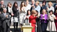 SNP leader Nicola Sturgeon and newly-elected MPs gather at the Forth Rail Bridge