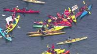 Protesters in Seattle against oil drilling in the Arctic