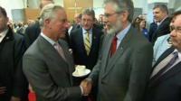 Prince Charles met Sinn Féin leader Gerry Adams at a meeting at the University of Galway