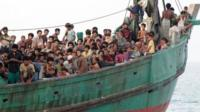 Migrants aboard boat off Indonesia