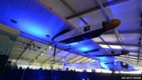 The Solar Impulse 2 undergoes maintainance in a hangar in Lukou International Airport in Nanjing on April 22,