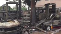 Destroyed petrol station