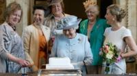 The Queen with the Princess Royal and the Countess of Wessex