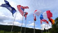 Flags on display at G7 summit