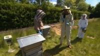 Bradford Beekeepers Association with schoolchildren