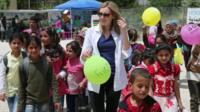 Actress Laura Carmichael meeting refugee children in Lebanon