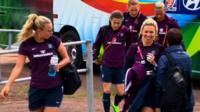 England players prepare to train after their Women's World Cup defeat to France
