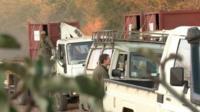 Convoy transporting rhinos