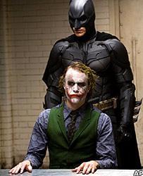 Heath Ledger and Christian Bale in Batman: The Dark Knight