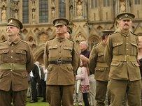 Men dressed as World War I soldiers at Harry Patch's funeral