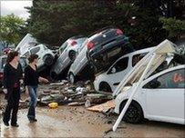 Cars washed up by flood water in Draguignan, France, 16 June 2010