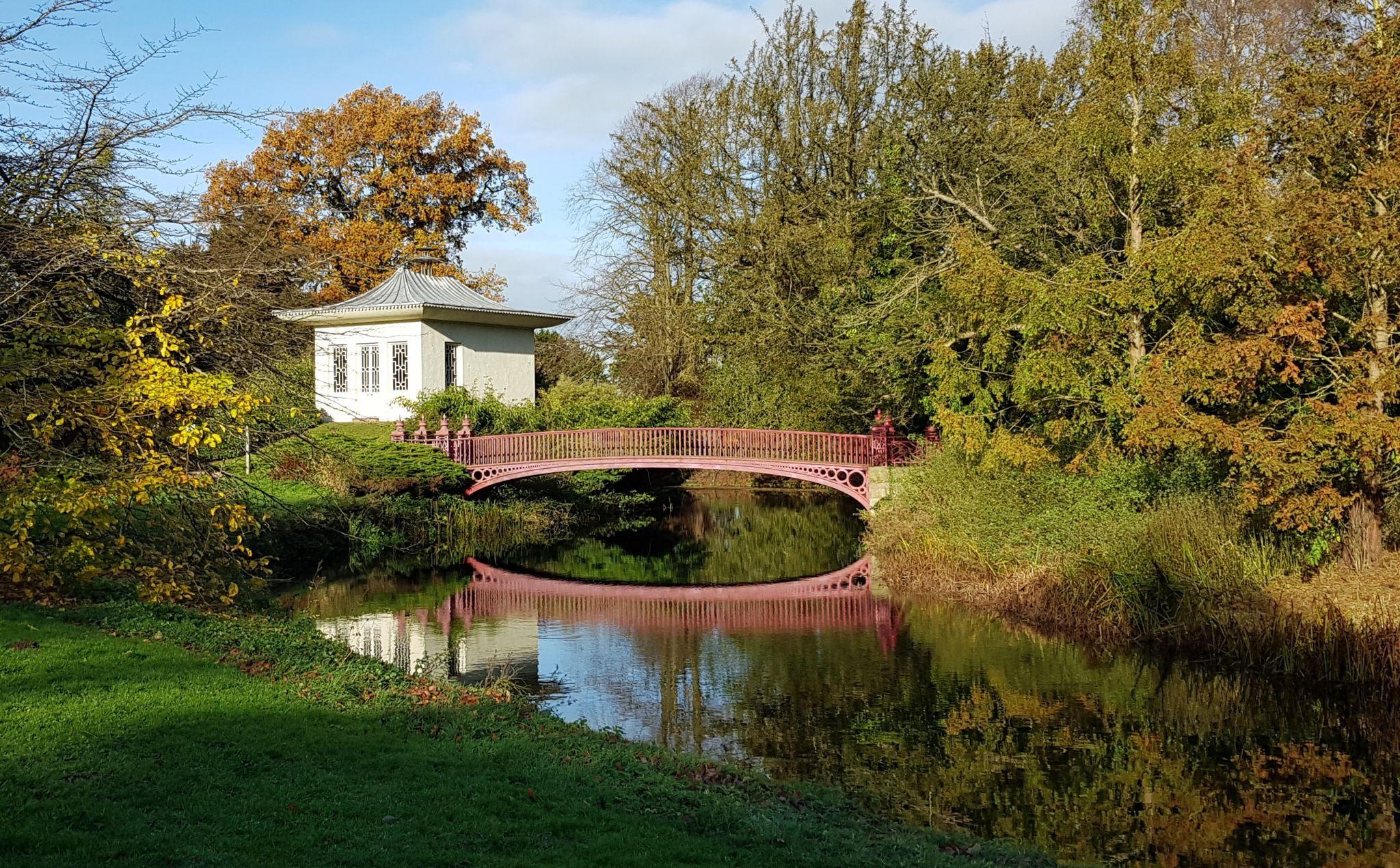 Bridge reflected over water