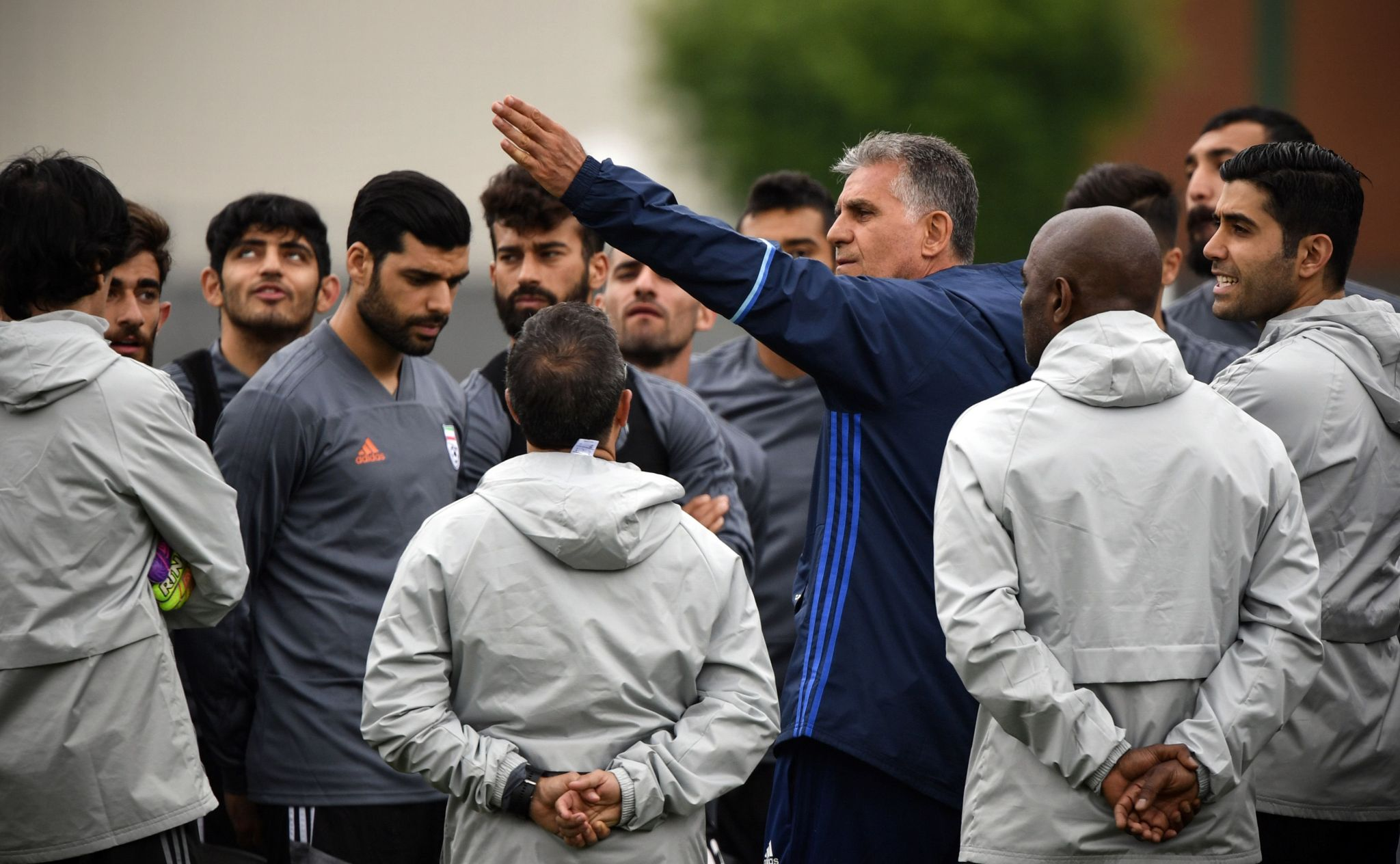 Iran's Portuguese coach Carlos Queiroz gestures as he talks to his players a training session in Bakovka outside Moscow on June 12, 2018, ahead of the Russia 2018 World Cup tournament.