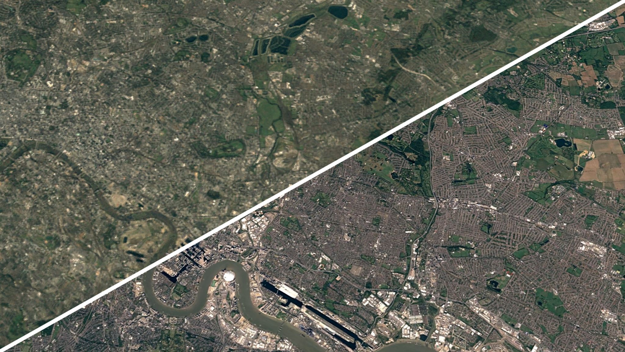 A diagonal line splits an image of East London - on the left, green fields dominate - on the right, built-up areas have taken over the green space as far as the eye can see
