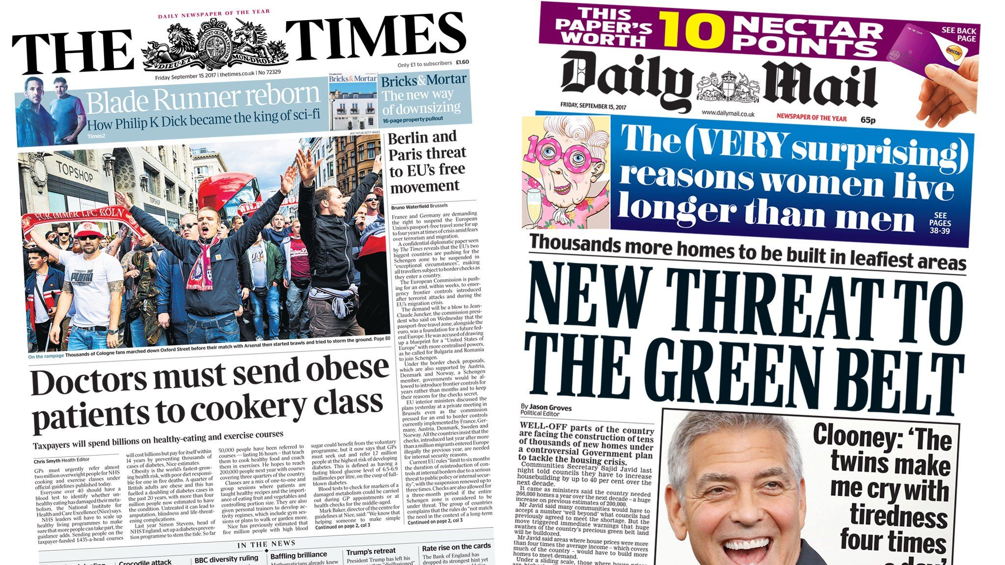 The Times and Daily Mail front pages