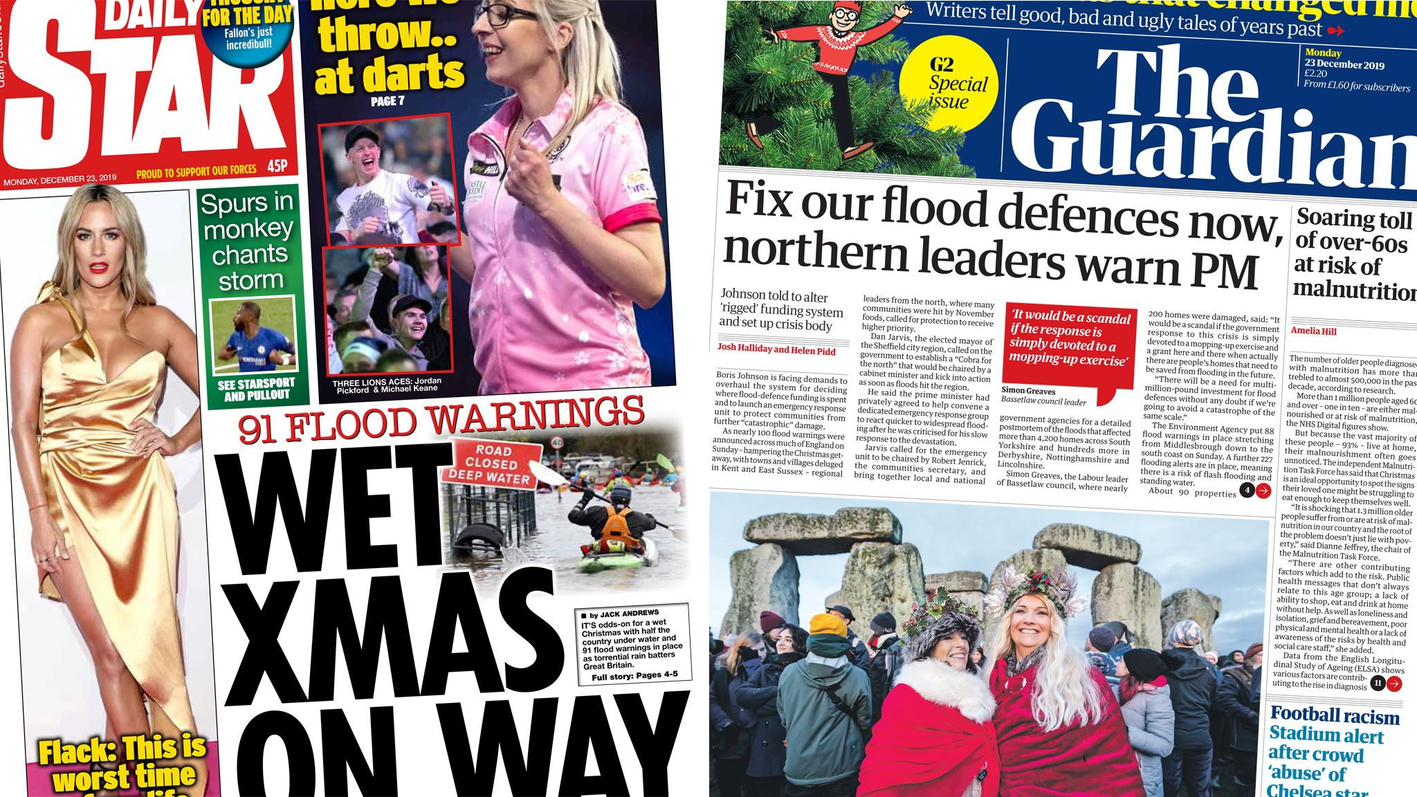 Composite image featuring the Daily Star and Guardian front pages