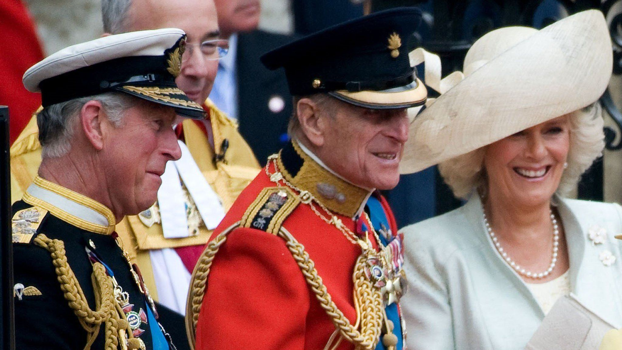 Image released by Clarence House 14/04/2021 of the Duke of Edinburgh, Prince Charles and Camilla in 2011