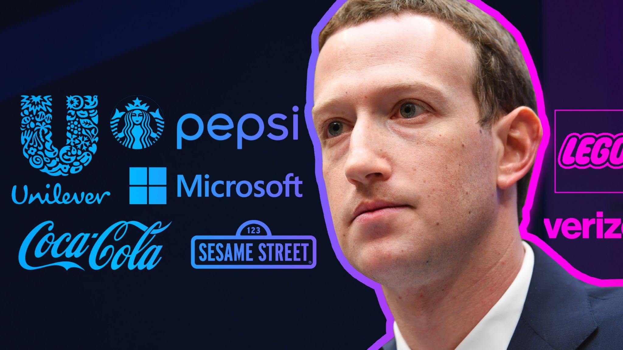 Mark Zuckerberg in front of company logos