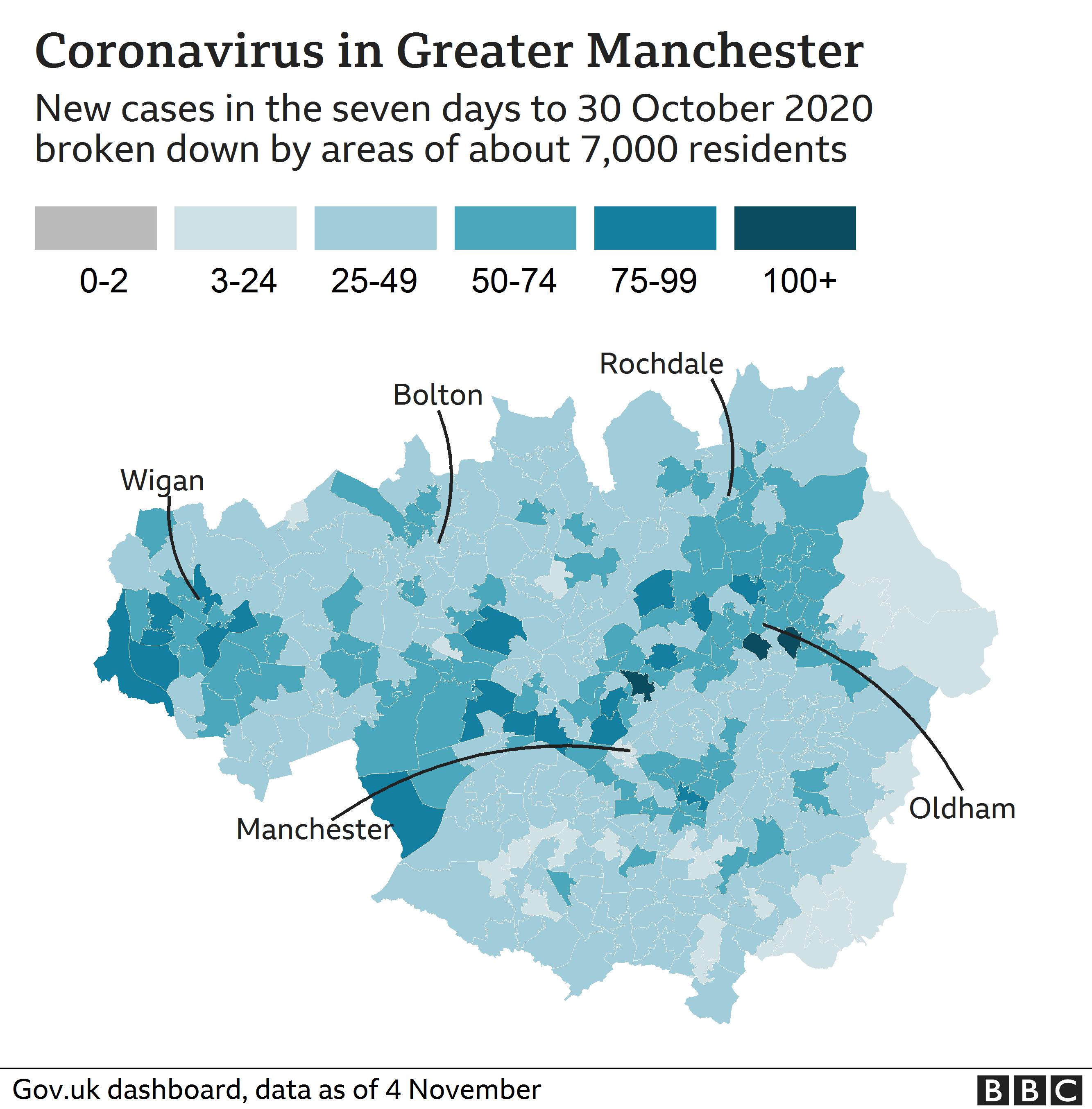 coronavirus map Greater Manchester